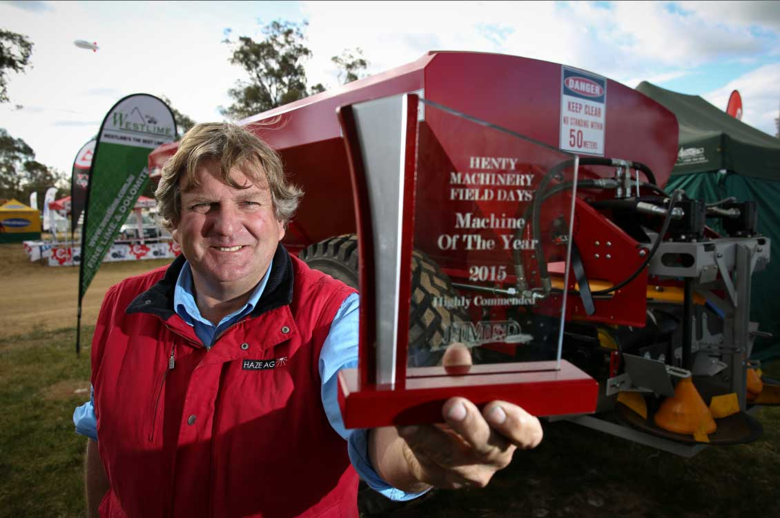 Richard Hazelton was a runner-up in the Henty Machine of the Year Award with his Haze Ag fertiliser spreader.